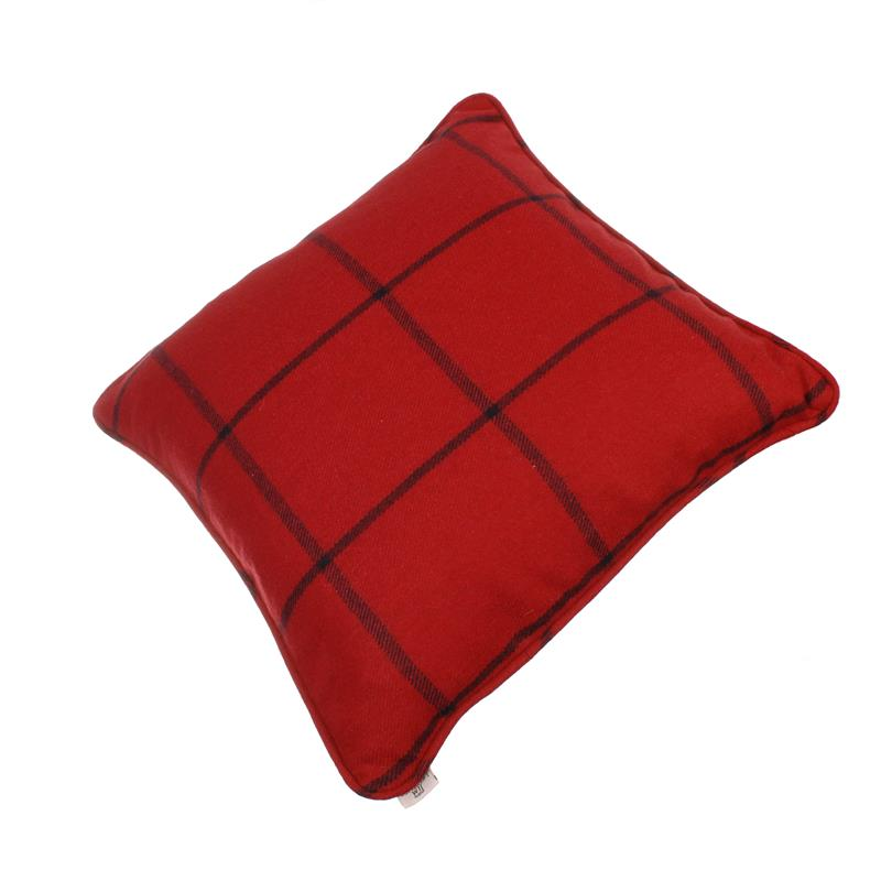 red-wool-check-cushion